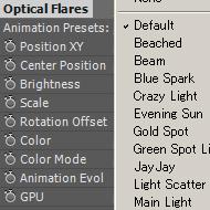 Optical Flaresを少し便利に使うアニメーションプリセット